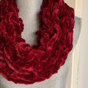 Wine Red Handmade Arm Knit Infinity Scarf